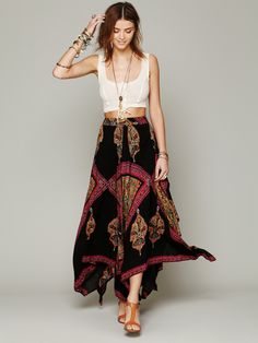 Crop top and high-waisted maxi skirt