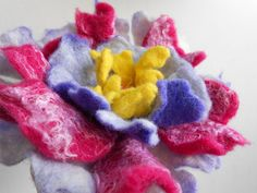 Wool Felted Flower Boho Chic Big Pink Purple Yellow by MaijaFeja, $24.00