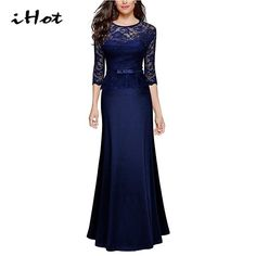 22.39$  Watch now - IHOT high quality 2017 women sexy lace special occasion peplum floor length dinner evening party maxi long dresses vestido longo   #SHOPPING