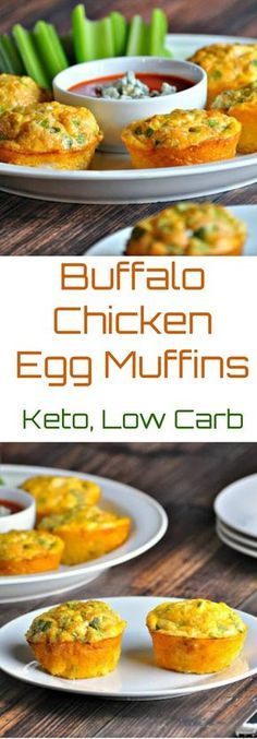 Buffalo Chicken Egg Muffins | Peace Love and Low Carb #lowcarb #lowcarbeggmuffins #buffalochicken
