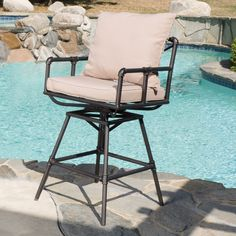 Northrup Pipe Outdoor Adjustable Barstool with Cushions by Christopher Knight Home (Black Copper)(Fabric), Patio Dining Chairs Unique Bar Stools, Outdoor Bar Stools, Patio Dining Chairs, Patio Bar, Outdoor Seating, Indoor Outdoor, Outdoor Spaces, Kitchen Chairs, Bar Stool Cushions