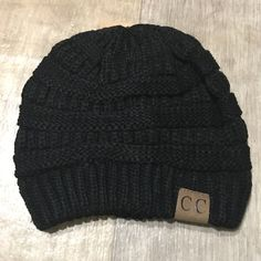 BLACK Slouchy Knit Beanie Keep warm while looking ADORABLESuper cute and popular beanie C.C beanieThick knit and super softPRICE IS FIRM CC Beanie Accessories Hats