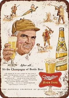 1954 Miller Beer and Pheasant Hunting Vintage Look Reproduction Metal Sign -- Want to know more, click on the image.