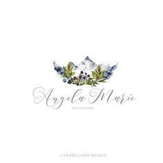 mountain logo design flower logo floral logo watercolor