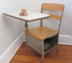 Vintage School Desk Metal  Adult Sized by oldgoatandhorse on Etsy, $100.00