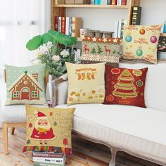 Free shipping Multicolour  Merry Christmas  Tree house  Linen Square Throw Flax Pillow Case Decorative Cushion  18*18inch