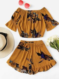 Shop Bardot Crop Top With Frill Hem Shorts online. SheIn offers Bardot Crop Top With Frill Hem Shorts & more to fit your fashionable needs. Cute Comfy Outfits, Cute Girl Outfits, Cute Summer Outfits, Pretty Outfits, Stylish Outfits, Cool Outfits, Girls Fashion Clothes, Teen Fashion Outfits, Cute Fashion