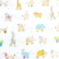 """Patterned with the sweetest baby toys in pastel colors, this new baby gift wrap is sure to make the new parents smile. It's accented with gold foil and the word """"baby"""" in the toys' strings. Baby Gift Wrapping, Gift Wrapping Paper, Photo Room, New Baby Gifts, Paper Gifts, Pastel Colors, Baby Toys, New Baby Products, Hello Kitty"""