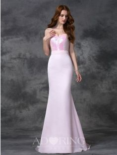 Mermaid Beading Sweetheart Sleeveless Floor-length Satin Chiffon Bridesmaid Dress