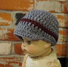 beenie with cap... free pattern. This would be cuuuute