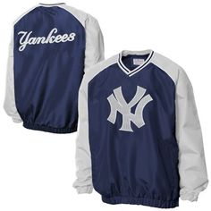 New York Yankees Double Play Pullover V-Neck Jacket - Navy Blue/Gray