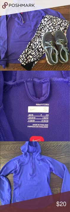 Nike fit dry half zip top with hood. S Purple warm Nike half zip with hood. Size small. Worn only a couple times. Great for running outside.  Walking or tennis!   Inside is lined with thin fleece.  Nike fit dry. Nike Tops Sweatshirts & Hoodies