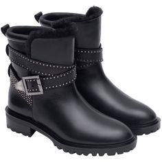 Pre-owned Zara New Box Studded Biker Moto Winter Fur Ankle Flats 6.5... ($179) ❤ liked on Polyvore featuring shoes, boots, ankle booties, black, black flat ankle booties, black bootie, black studded flats, black studded boots and black ankle booties