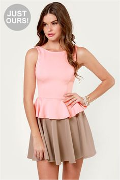 Cute Pink Dress - Flare Dress - Peplum Dress - $40.00 i really want this for valentine's day aghhg
