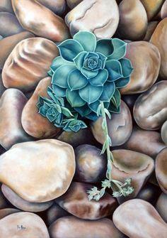 Oil painting by Ilse Kleyn. Desert Rose /Succulent