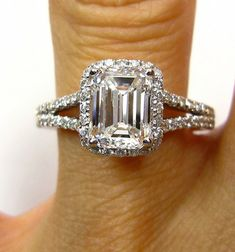 EMERALD cut Diamond Solitaire Engagement Pave Ring,