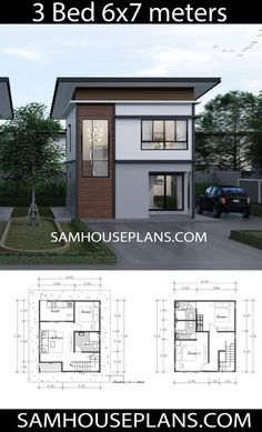 Plan Maison House Plans Idea with 3 Bedrooms - Sam House Plans Selecting the Perfect Area Rug Th Mini House Plans, Small Modern House Plans, A Frame House Plans, Model House Plan, House Layout Plans, Beach House Plans, Family House Plans, Dream House Plans, House Layouts