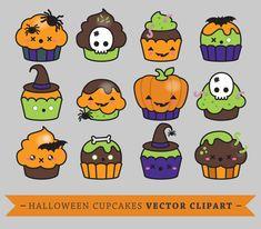 Premium Vector Clipart - Kawaii Halloween Cup Cakes - Cupcakes lindos Set de imágenes prediseñadas - vectores de alta calidad - descarga inmediata - imágenes prediseñadas Kawaii