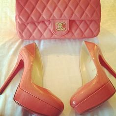 Pink chanel bags and christian louboutin shoes
