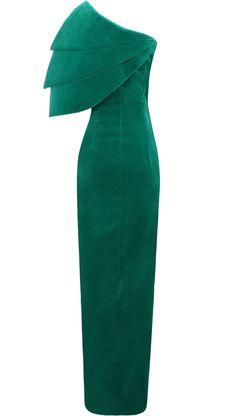 Vestido largo en terciopelo verde