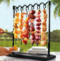 These look familiar! SBCC uses these skewer stands all the time for our stations!