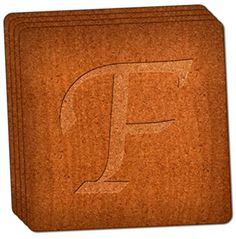 "Custom & Cool {4"" Inches} Set Pack of 4 Square ""Grip Texture"" Drink Cup Coaster Made of Cork w/ Wooden Engraving Elegant Letter F Design [Brown Color] mySimple Products"
