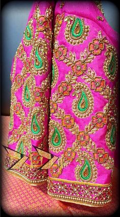 For more info call 9296252532 South Indian Blouse Designs, Simple Blouse Designs, Bridal Blouse Designs, Turbans, Embroidery Works, Hand Embroidery, Embroidery Blouses, Pattu Saree Blouse Designs, Maggam Work Designs