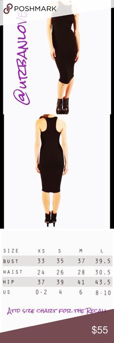 """Atid the perfect LBD racer back ribbed Midi chic I'm offering these at the lowest possible price """"price firm""""  super soft body loving .  So versatile dress up or casual . Various sizes you'll love this ..Atid is a LA based brand focusing on every woman's essential wardrobe to suit any occasion. They believe in staple, classic pieces to be worn year round. 88% tencel 12% spandex. Atid Clothing Dresses Midi"""