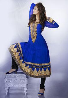 Blue Pure Georgette Anarkali Churidar Kameez