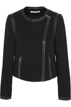 Diane von Furstenberg Esther leather-trimmed stretch-crepe jacket+|+THE OUTNET