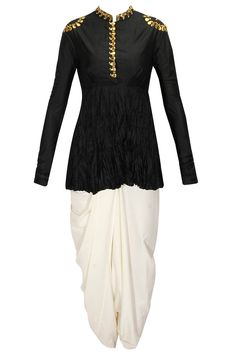 Black gota work crushed silk top with ivory dhoti pants by Ayinat. Shop now: http://www.perniaspopupshop.com/designers/ayinat #kurta #dhoti #pants #ayinat #shopnow #perniaspopupshop