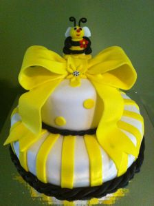 White and Yellow Bumble Bee Cake