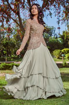 The essence of Bridal lehenga Store is perpetual story telling. Custommade and Worldwide shipping Available . Gown Party Wear, Party Wear Indian Dresses, Designer Party Wear Dresses, Indian Gowns Dresses, Kurti Designs Party Wear, Dress Indian Style, Indian Fashion Dresses, Indian Designer Outfits, Indian Outfits