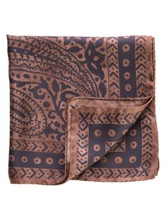 """Stand out with subdued charm when you wear this classic paisley print pocket square. Black and oak brown silk twill. Details - Made in Como, Italy - Rolled hem - 13 x 13"""" (33 x 33cm) - 100% Silk"""