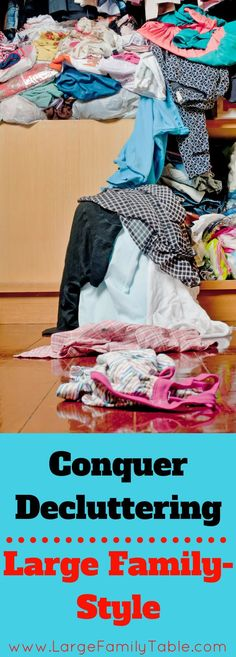 Large Family Decluttering | How to Conquer Decluttering Large Family Style! Organizing and decluttering a home is hard work and can be mind draining.  Let me show you how I got my home all organized even though I have a VERY LARGE family! ;) #largefamilytable #familydecluttering #howtoorganizeahome #decutteringahome #howtodeclutterahome #largefamilyhome