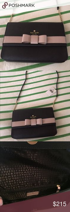 "NWT Kate Spade Authentic Crossbody Authentic Kate Spade Kirk Park Veronique Saffiano Purse, Color Is Black & Mousse Frosting, Crosshatched Leather With Matching Trim, Snap Closure, Interior Slide & Interior Slip Pocket, Strap Is 43"", Purse Dimensions Are 6.4"" x 10.3"" x 2"" From a Smoke Free home without pets!! I Have shipping info on hand if you want proof! Never used! Taken out of the package to take pictures that is it!! Bought but I decided on another purse! Purchased for $300 and I just…"