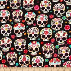 Timeless Treasures Day Of The Dead Skulls Black from @fabricdotcom  Designed for Timeless Treasures, this cotton print fabric is perfect for quilting, apparel and home decor accents. Colors include black, shades of red, shades of orange, shades of yellow, shades of pink, shades of aqua and white.