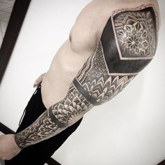 Search inspiration for a Geometric tattoo. Badass Tattoos, Tattoos For Guys, Cool Tattoos, Tatoos, Geometric Tattoo Sleeve Designs, Tattoo Designs, Forearm Sleeve Tattoos, Arm Band Tattoo, Tattoo Table