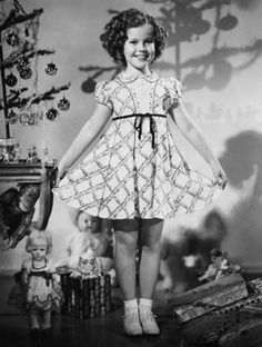 Shirley Temple in her new Christmas Dress, 1935