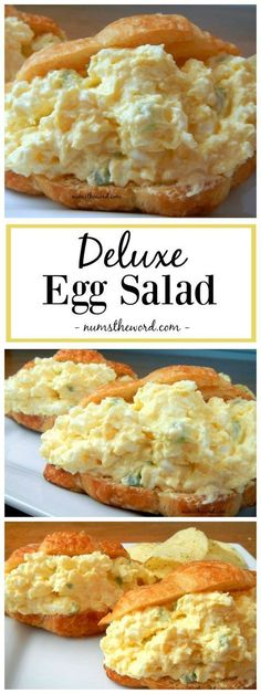 Looking for an upgrade on the traditional egg salad? Looking for an upgrade on the traditional egg salad? Try this Deluxe Egg Salad! It includes cream cheese grated onions and is by far my favorite version of egg salad! Fingerfood Recipes, Easy Salad Recipes, Healthy Recipes, Pasta Recipes, Cake Recipes, Jello Recipes, Meatless Recipes, Top Recipes, Family Recipes