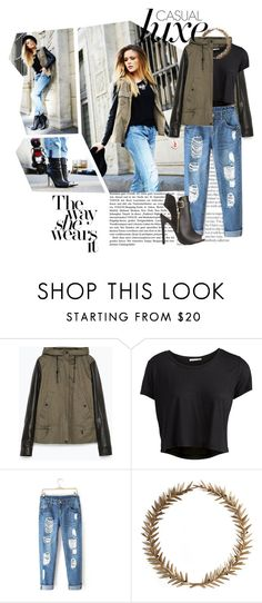 """""""h a r d e r  t o  b r e a t h e"""" by pinksweetpea ❤ liked on Polyvore featuring Zara, Pieces, Bliss Studio, Charlotte Russe, Leather, boyfriendjeans and goldjewelry"""