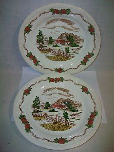 Lot-2-Vintage-FIGGJO-FLINT-NORWAY-10-1-8-Plates-w-Roses-House-by-Mountains