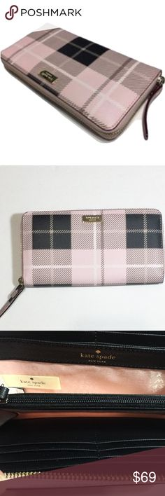 KATE SPADE NEWBURY LANE PRINTED WALLET PINK PLAID Like new! No tags. Color is pink plaid.  Has dust bag. kate spade Bags Wallets
