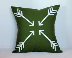 Olive Green Hand Stenciled Linen Pillow Cover by OurHumbleABoweD