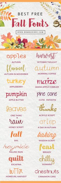 Autumn is in the air and these free fall fonts are sure to help inspire your next project! Fall is totally my favorite season. I& ready for sweaters, scarves and pumpkin spice everything! I chose this collection of the best free fall fonts because each o Alphabet Police, Fall Fonts, Photoshop, Silhouette Cameo Projects, Cricut Creations, Vinyl Projects, Cricut Design, Web Design, Clip Art