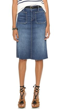 MOTHER | High Waisted Patchie Skirt in Smoke & Mirrors