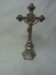 Vintage Miniature German Pewter Altar Cross House Altar #AS6