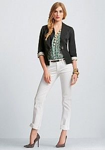 """Wait until you try on these CAbi Stella Jeans - new this season, and in a finish called """"Destruction!"""" They are the softest, BEST fit over your curves nicely, jeans on the PLANET!"""