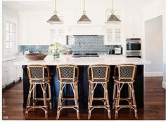 Love these French Cafe Stools! Great texture/color for island. Also great blue tile backsplash.