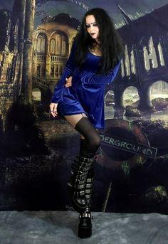 I Shall Wear Midnight Minidress - steamed velvet babydoll mini dress by  Moonmaiden Gothic Clothing UK